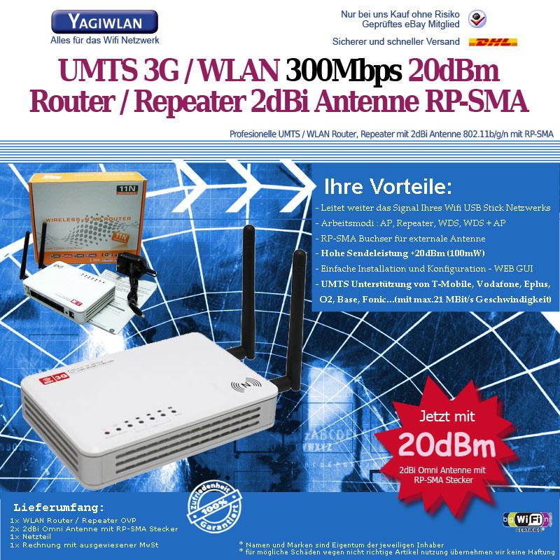 3g umts wifi wlan router modem 300mbit 2x 2dbi antenne. Black Bedroom Furniture Sets. Home Design Ideas
