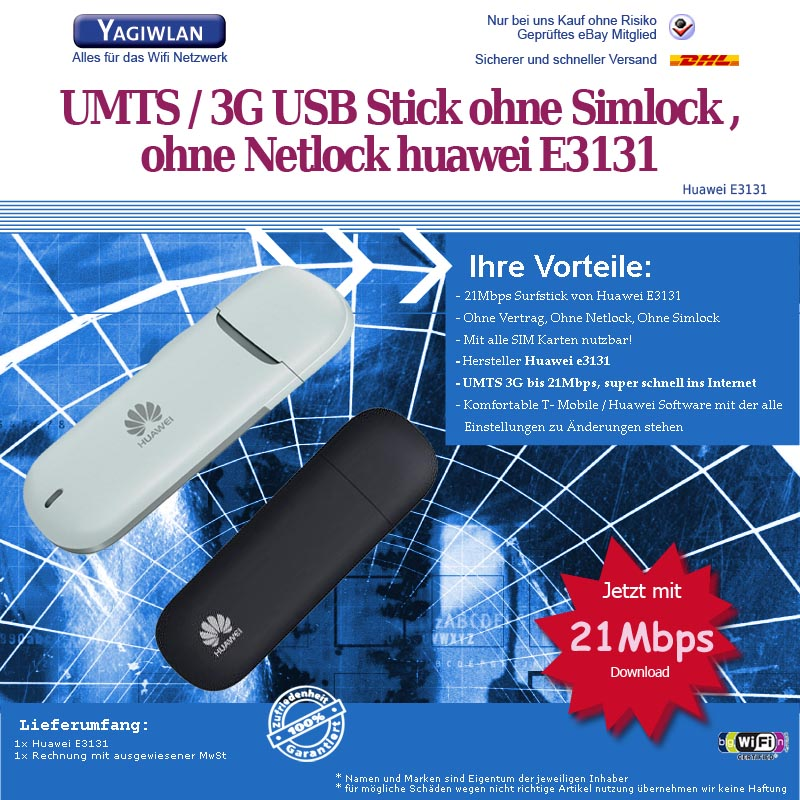 21mb s huawei e3131 surfstick datenstick 3g umts usb ohne. Black Bedroom Furniture Sets. Home Design Ideas
