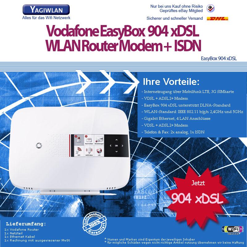 easybox vodafone easy box 904 xdsl f r adsl2 vdsl wlan bis 300 mbit s router ebay. Black Bedroom Furniture Sets. Home Design Ideas