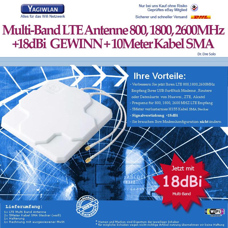 lte antenne 800 1800 2600mhz 2x18dbi gewinn 5m speedport. Black Bedroom Furniture Sets. Home Design Ideas